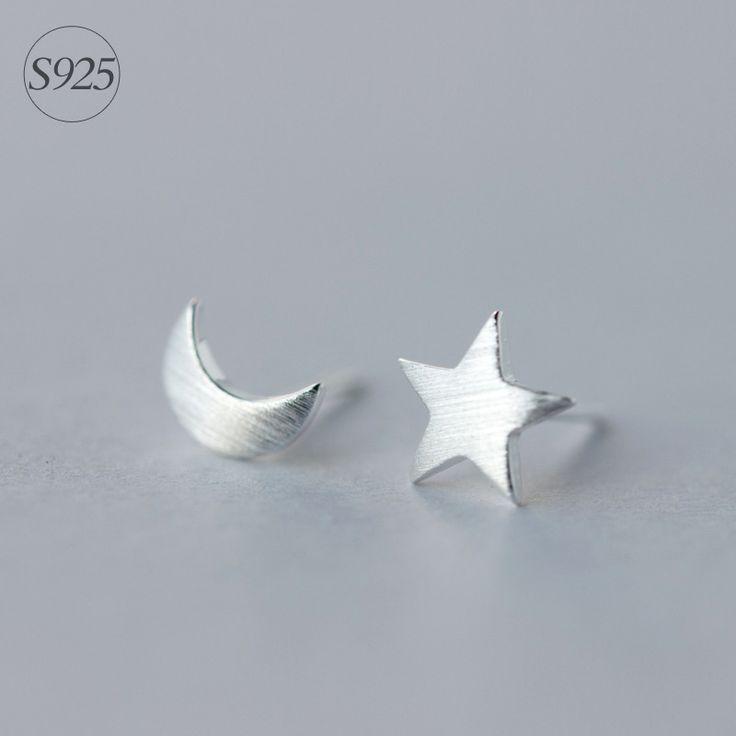Boho Biżuteria 925-Sterling-Silver Crescent Moon & Gwiazda Stadniny Kolczyki Minimalistyczny Proste Małe Kolczyki Dla Przyjaciół Nowy Rok Prezent