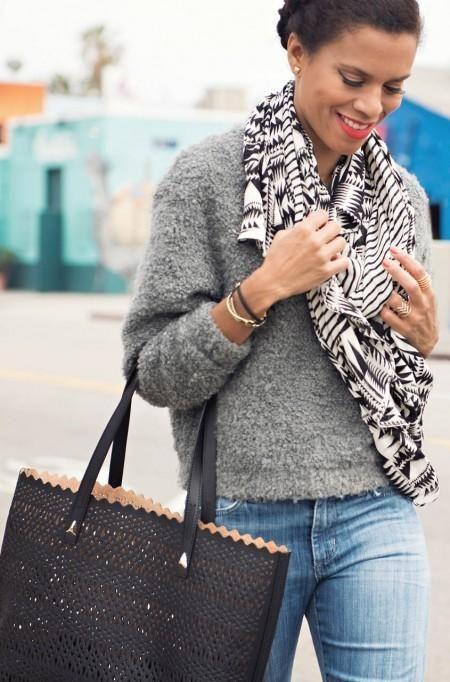 Black Perf Avalon Tote Bag for Women
