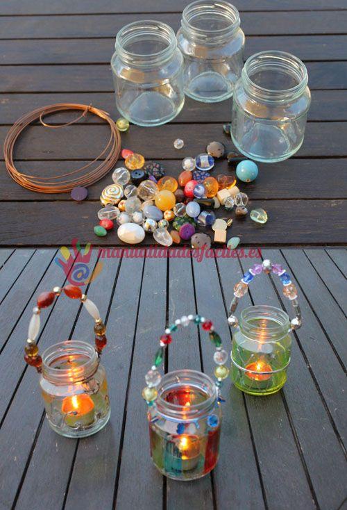 Portavelas con vidrio reciclado