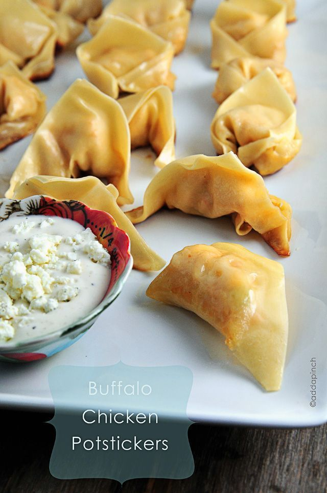 Buffalo Chicken Potstickers Recipe - Such a well-loved and much requested appetizer in my house! Even makes a great light lunch! from addapinch.com