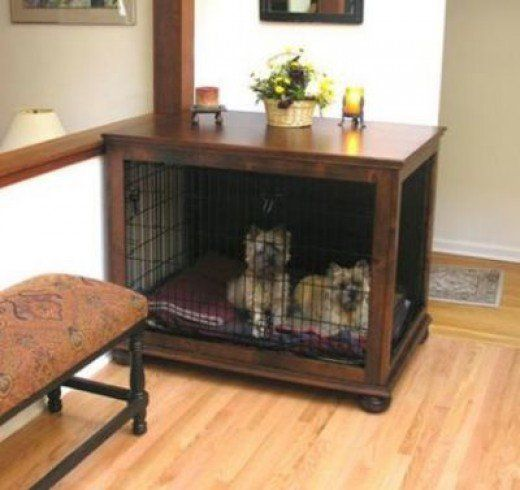 """Designer Dog Crate Table from """"Crate Haven""""                                                                                                                                                                                 More"""