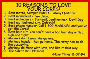 10 Reasons to love the Marine Corps.