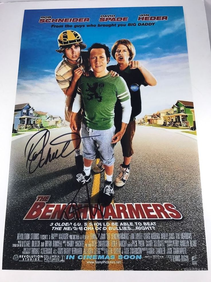 DAVID SPADE & ROB SCHNEIDER signed 12x18 Poster THE BENCHWARMERS Movie