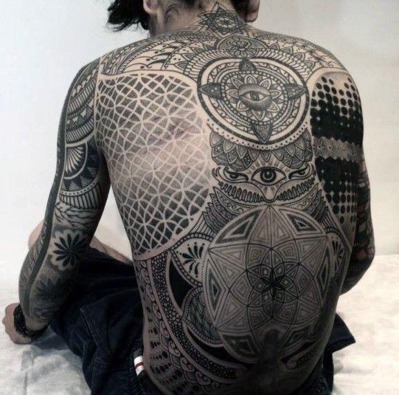 Full Back Sacred Geometry Tattoo In Black Ink For Men