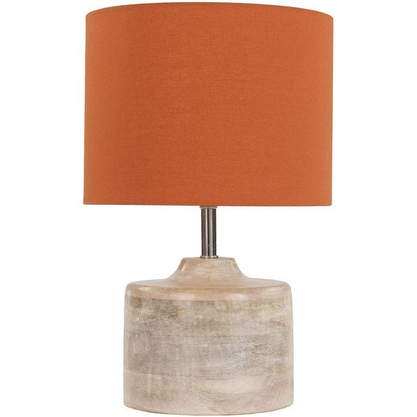 Surya Coast Orange Table Lamp ($158) ❤ liked on Polyvore featuring home, lighting, table lamps, drum shade, coast lights, orange table lamp, drum shades and colored lights