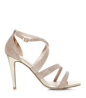 Gold Glitter Strappy Peep Toe Heels