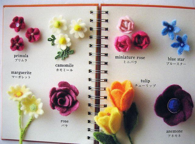 flower motif japanese booklet | Fieltro | Pinterest | Needle Felting, Felt and Felt Flowers