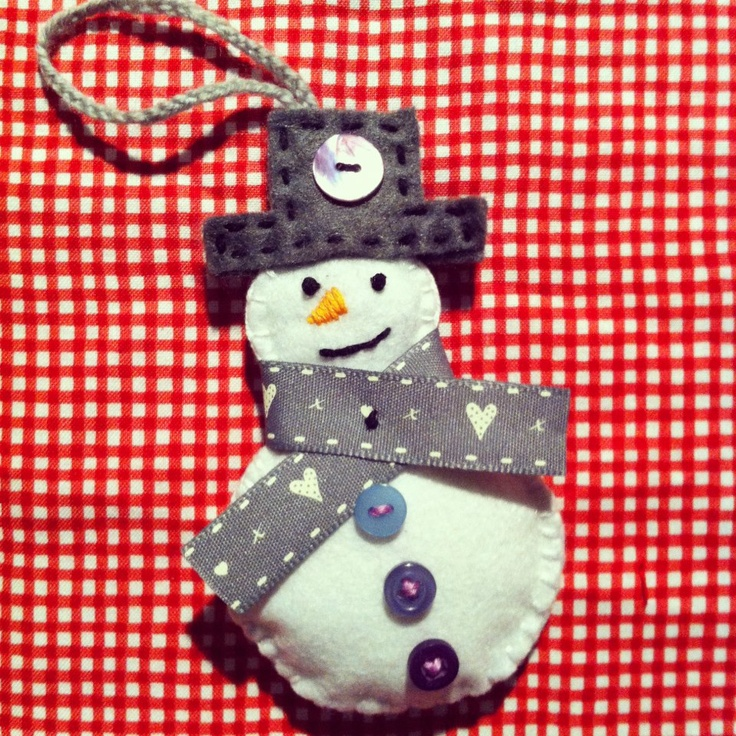 Jolly Snowman. Home made Christmas Tree decoration. Visit http://www.facebook.com/KittyAndTiz to find out how to buy