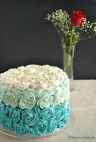 Easy Cook: White velvet Cake with Whipped Vanilla blue Ombre frosting