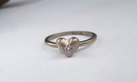 14K White Gold Diamond Heart Ring from The Sweet Nothings