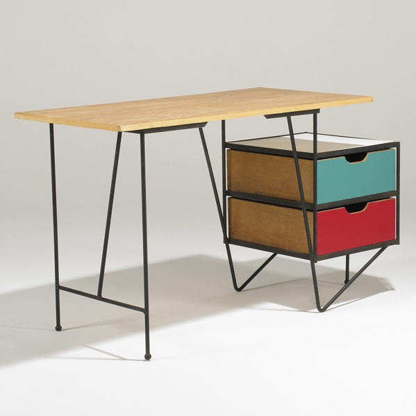 Robin Day; Enameled Wrought Iron, Laminate and Birch Desk, 1950s.