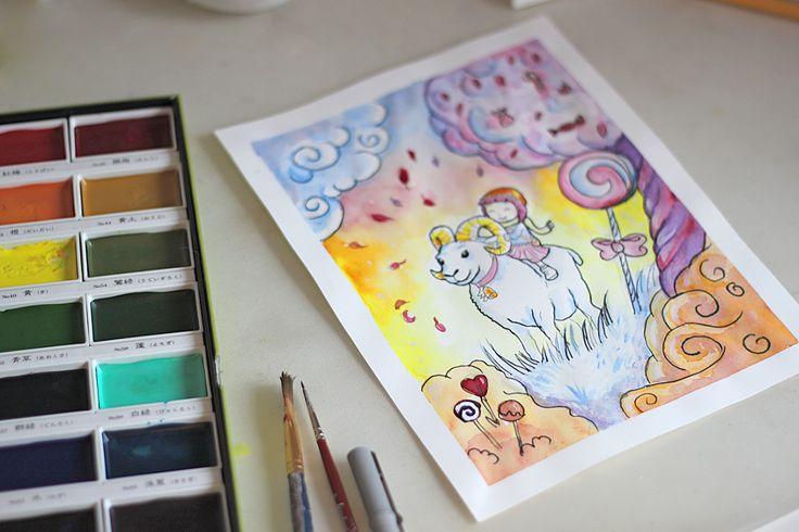 watercolor children illustration - zodiac sign