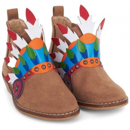 Beige Headdress Ankle Boots