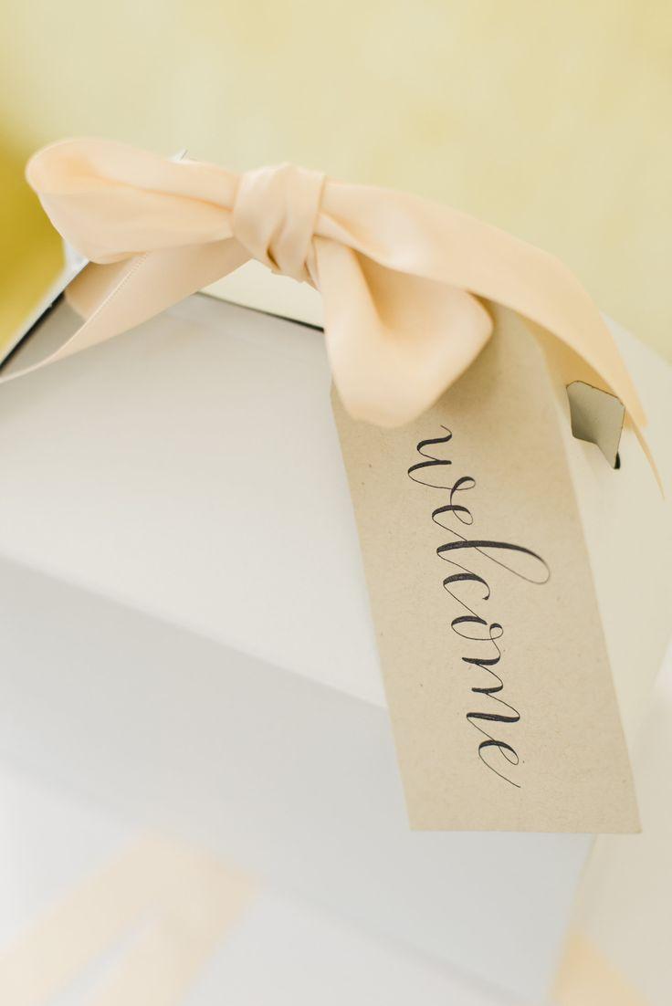 Gift by: www.marigoldgrey.com Wedding | Welcome Gift | Welcome Box | Gable Box | Gift Box | Calligraphy | Hang Tag | Ribbon | Marigold & Grey | Wedding Welcome Gifts