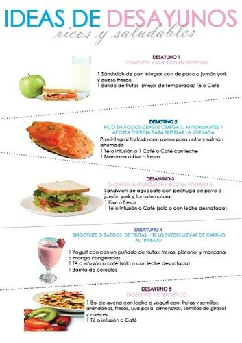 Ideas de desayunos saludables, ricos y fáciles de preparar. 5 desayunos variados para cada mañana.