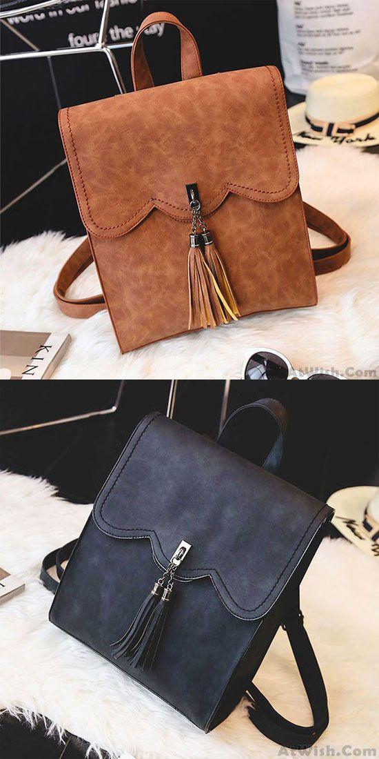 Retro Simple PU Tassels Women Student Backpack School Bag for big sale!   Backpack  school  college  tassel  rucksack d93c1383cdcaa