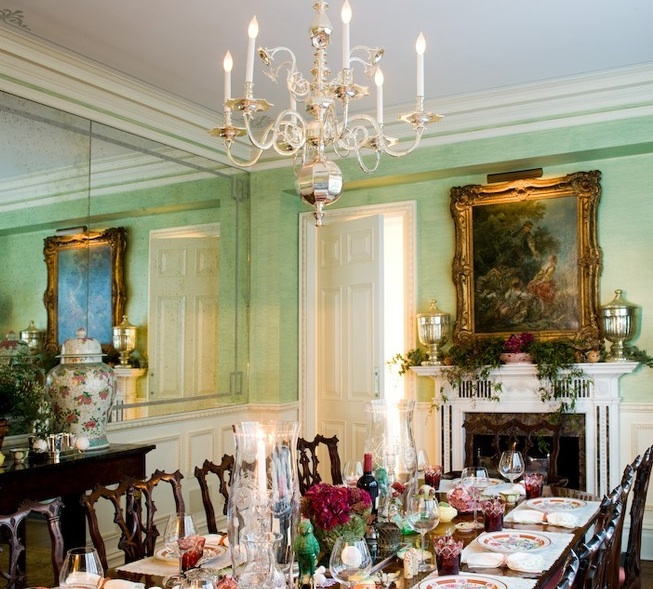 Ultra Traditional Mint Green Dining Room Set For Dinner