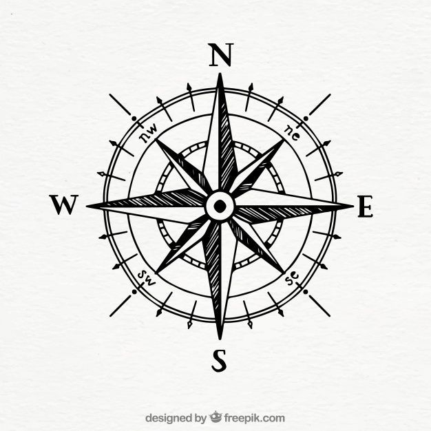 Hand Drawn Vintage Compass Free Vector Compass Drawn Free Hand Vector Vintage Vintage Compass Simple Compass Tattoo Compass Tattoo Design