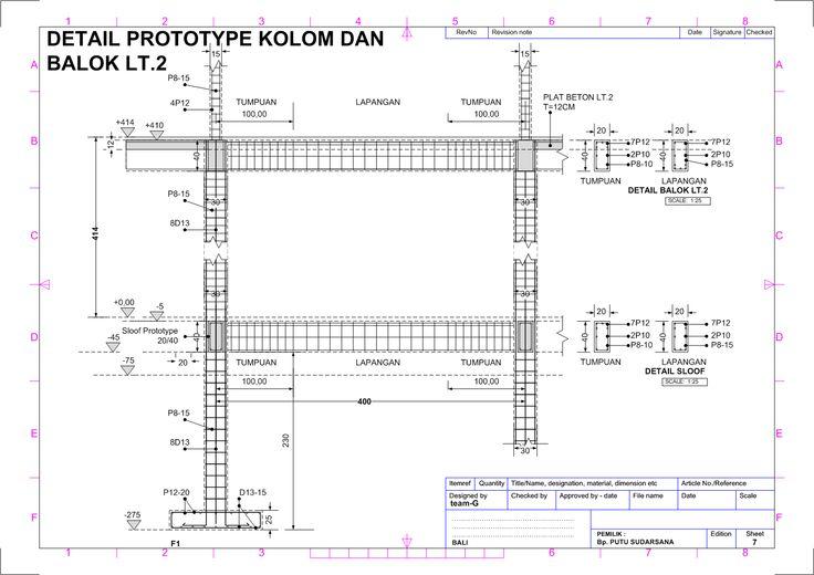 Gambar Kerja Pondasi 7 (Detail Prototype Kolom Balok Lantai 2)