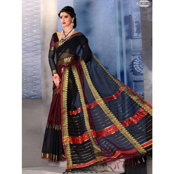 Chennai Express Cotton  Black Designer Sarees