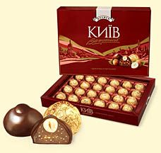 VECHIRNYJ KYIV   Roshen   A favorite in Ukraine! Natural dark chocolate covers a chocolate praline filling and a crunchy hazelnut. A selection everyone will enjoy!  348g