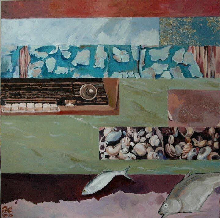 """Работа Дудкина Владимира """"Неожиданная поездка-2"""" - о поездке к своему деду в деревню. Картина-воспоминание: старый радиоприемник, потрескавшаяся масляная краска на старых поверхностях, песок, ракушки на речке, рыбалка с дедом.  Либо - как вариант: прекрасный образец стиля стимпанк! Рекомендуем эту работу в современные интерьерные стили: хайтек, индустриальный лофт, минимализм…"""