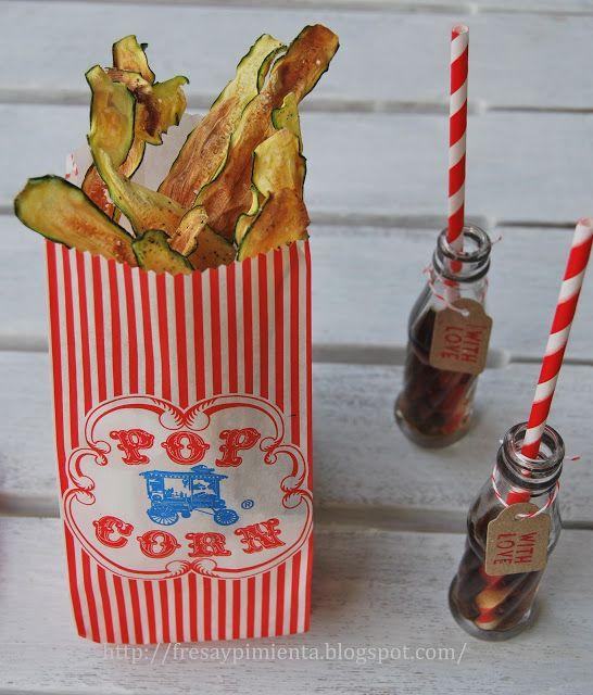 fresa & pimienta: Chips de calabacín con especias.