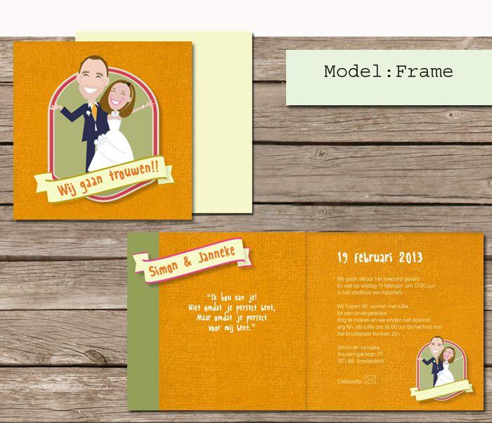 #custom # illustrated #wedding #invites  #trouwkaarten op maat #maatwerk #cartoon #tekening van jezelf nagetekend op een trouwkaart. #frame