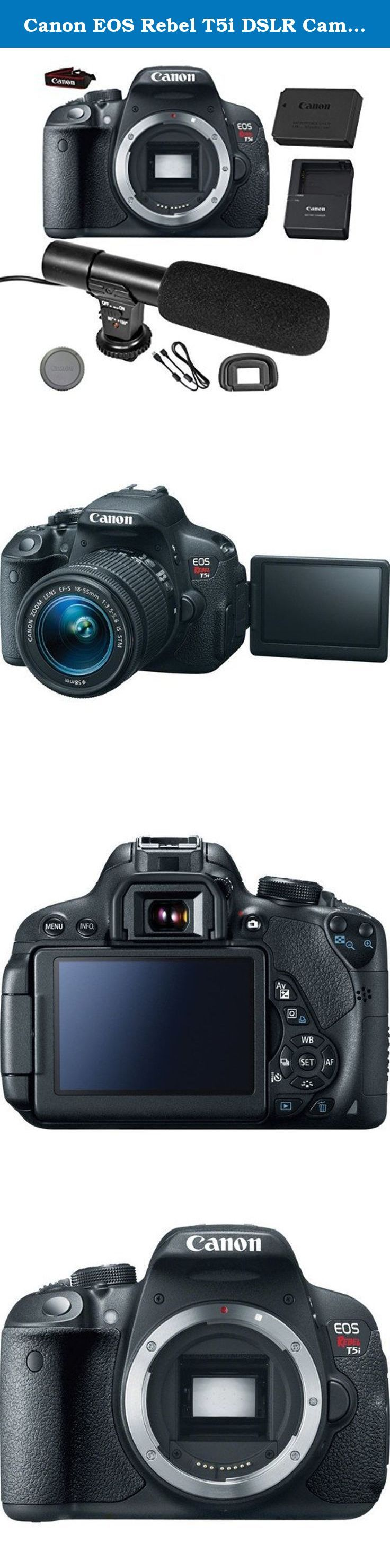 Canon EOS Rebel T5i DSLR Camera (Body Only) + On-Camera Shotgun Microphone - International Version. This GracePhotoNY bundle includes : Canon EOS Rebel T5i DSLR Camera (Body Only) On-Camera Shotgun Microphone LP-E8 Rechargeable Lithium-Ion Battery Pack (7.2V, 1120mAh) Battery Charger LC-E12 for Battery Pack LP-E12 RF-3 Body Cap for Canon EOS Cameras Eyecup Ef for Digital Rebel Cameras EW-300D Wide Strap Interface Cable EOS Digital Solution Disk .