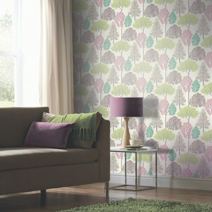 Glitter Trees Pink and Green Wallpaper - 670SW000