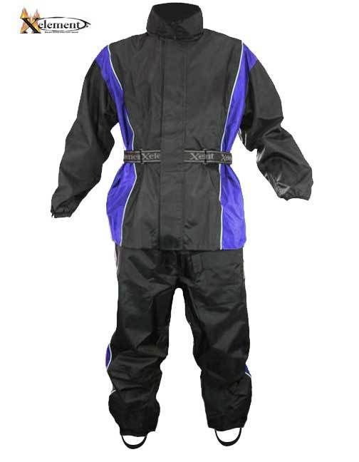 Xelement RN4768 Men's 2 Piece Black Blue Nylon Motorcycle Rain Suit Boot Straps  #Xelement #Motorcycle