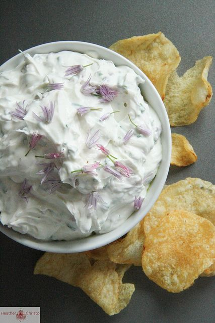 Chive and Bacon Dip by Heather ChristoChive Dips, Bacon Food, Dips Recipe, Dips Spreads Sauces, Bacon Dips, Heather Christo, Drinks Recipe, Bacon Savory, Greek Yogurt