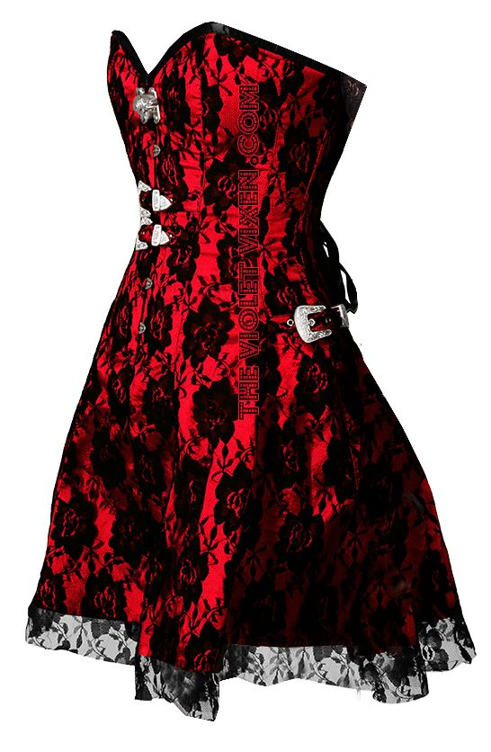 The Violet Vixen - Black Rose on Red Corset Dress, $146.00 (http://thevioletvixen.com/clothing/black-rose-on-red-corset-dress/)  This in either red or black...nice!