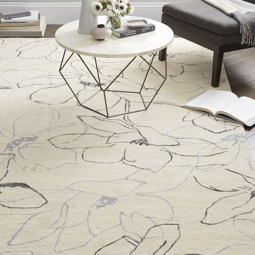 Hand Tufted By Skilled Indian Artisans, Our Magnolia Rug Features A  Botanical Design Translated