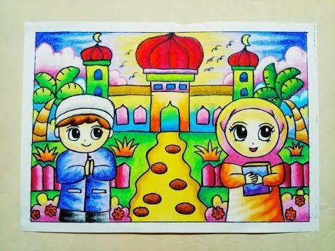 Cara Mewarnai Gradasi Crayon Oilpastel Pergi Ke Masjid Youtube