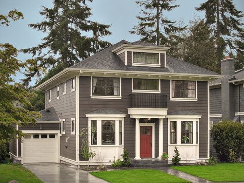 Dark grey siding thick white trim laurelhurst - White exterior paint color schemes ...