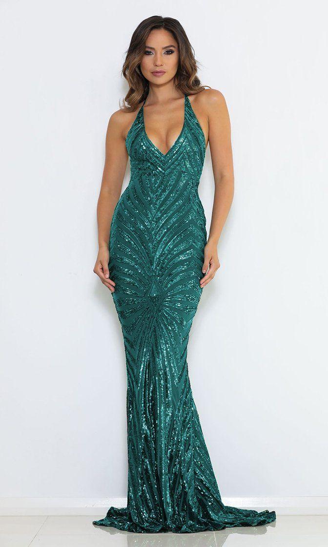 Green Spaghetti Strap Sequin Dress