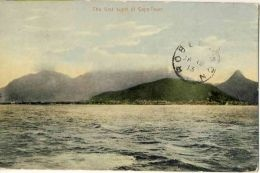 The first sight of Cape Town. Vintage postcard