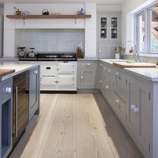 SABON HOME PhotoPale Wood Ceiling Grey Painted Cabinetry - Cream and gray kitchens