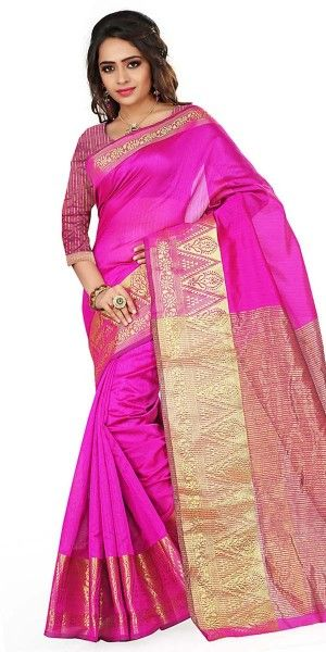 Bright Pink Cotton Saree With Blouse.