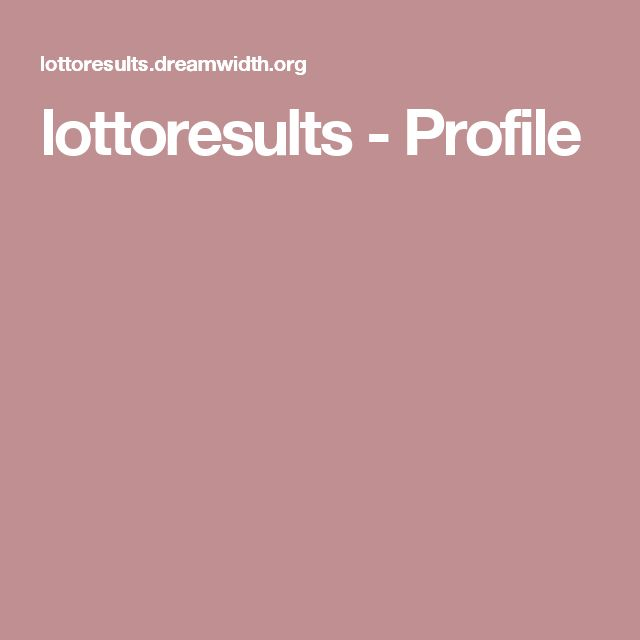 lottoresults - Profile