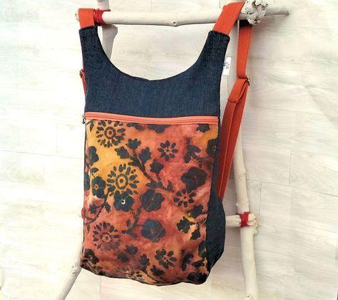 Mochila mujer estampado batik hojas: Bolso mochila mujer - Mochila otoño- Mochila ergonómica - Mochila de tela tejana - mochila hippie de uVeOriginal en Etsy