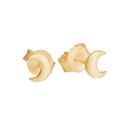Stud, moon, matt gold plated sterling silver