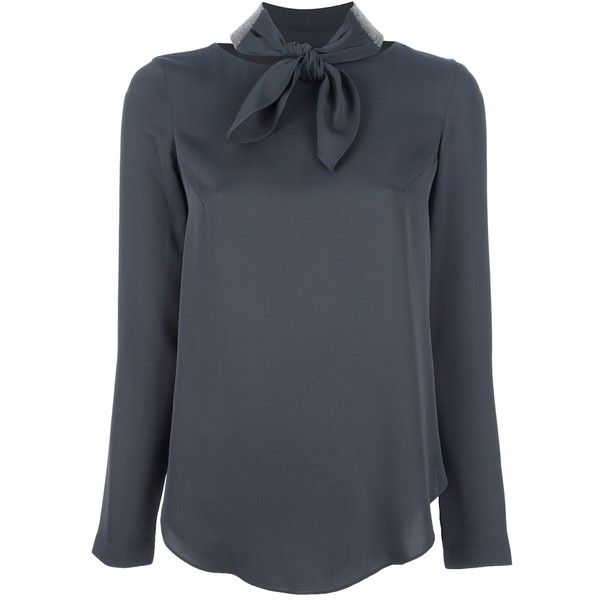 BRUNELLO CUCINELLI bow neck blouse ($615) ❤ liked on Polyvore featuring tops, blouses, shirts, bow tie blouse, long sleeve silk blouse, gray silk blouse, bow blouse and bow tie shirt