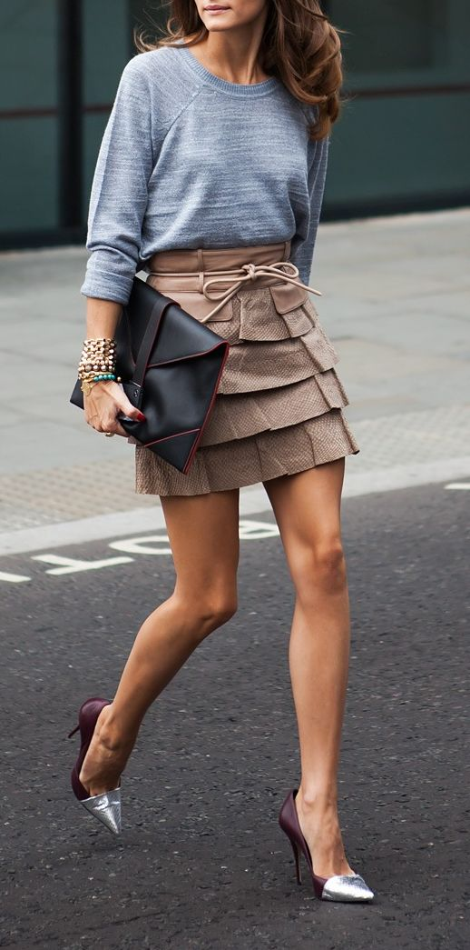 killer heels, oversized clutch, simple top and a cute mini in a neutral....perfect little outfit. arm party for the bonus!