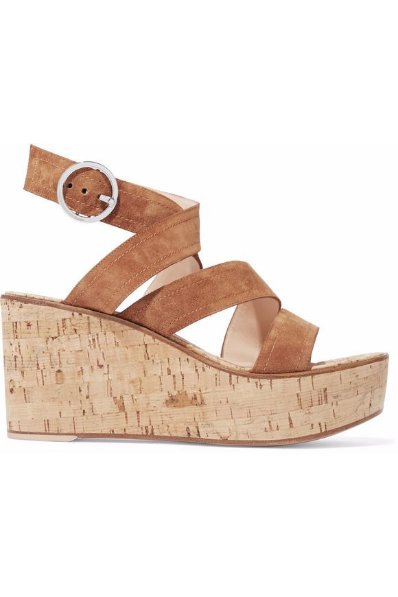 5fb0fb8ddd GIANVITO ROSSI Denim and cork wedge sandals | SHOES in 2019 | Wedge ...