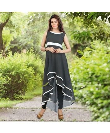 Black Pure Georgette With Cotton Inner Stitch Kurti #ohnineone