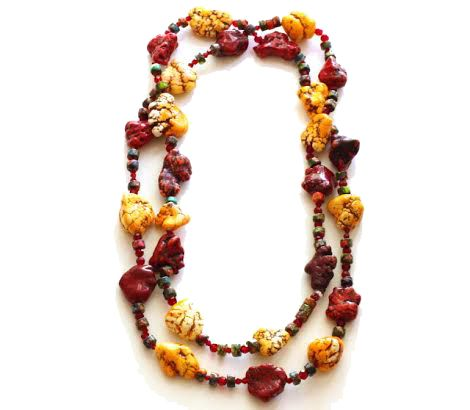 Rasta Necklace: Dyed Howlite Chunks, Glass Beads, Multi Colored Howlite Beads