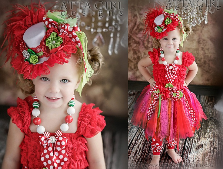 CINDY LOU WHO Diva Christmas Set Simply Stunning Lace Dress with Flower headband, Chunky Bead Necklace  and Sassy Sash Photo Prop Christmas. $175.00, via Etsy.