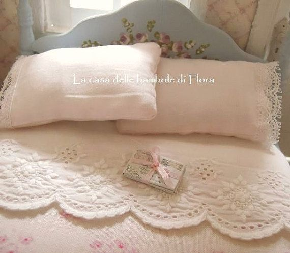 Romantic duck egg double bed & bedding 1:12 by FloraDollhouse
